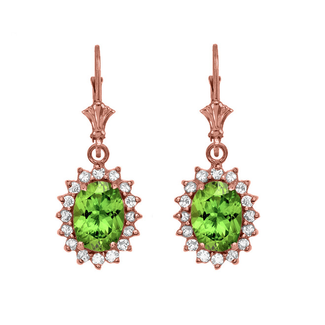 Diamond And Peridot Rose Gold Dangling Earrings