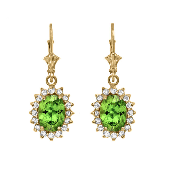 Diamond And Peridot Yellow Gold Dangling Earrings