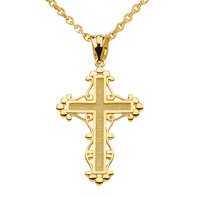 Yellow Gold Christian Cross Spirituality Pendant Necklace