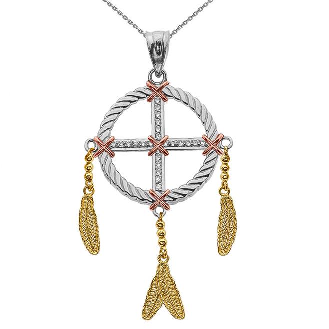 Dream Catcher Gold And Diamond Pendant Necklace