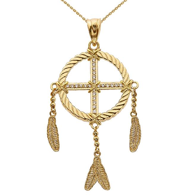 Dream Catcher Yellow Gold And Diamond Pendant Necklace