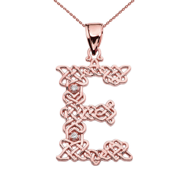"""""""E"""" Initial In Celtic Knot Pattern Rose Gold Pendant Necklace With Diamond"""