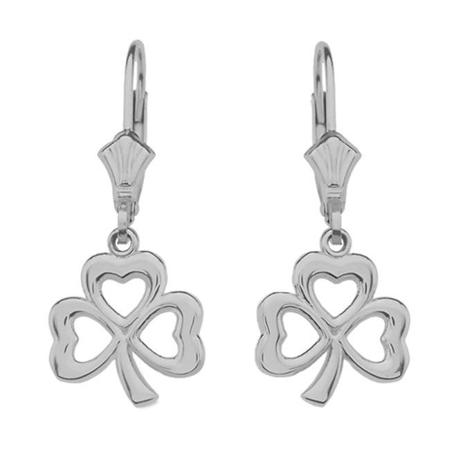 14K White Gold Polished Lucky Shamrock Earrings
