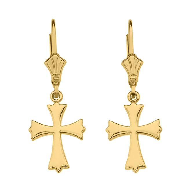 14K Yellow Gold Roman Catholic Earrings