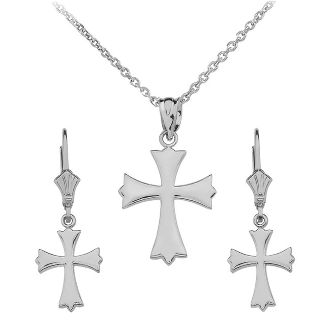 Sterling Silver Roman Catholic Necklace Earring Set
