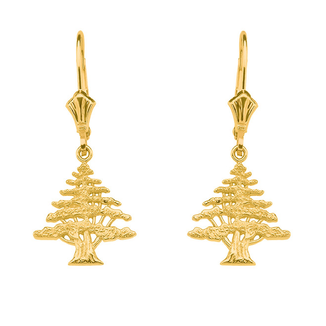14K  Yellow Gold Lebanese Cedar Tree Earrings