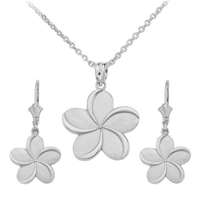 14K White Gold Hawaiian Plumeria Flower Necklace Earring Set
