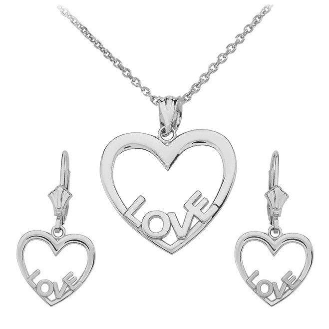 14K White Gold Love Heart Necklace Earring Set