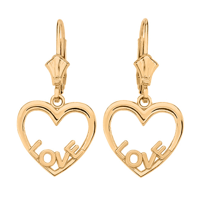 14K  Yellow Gold Love Heart  Earrings