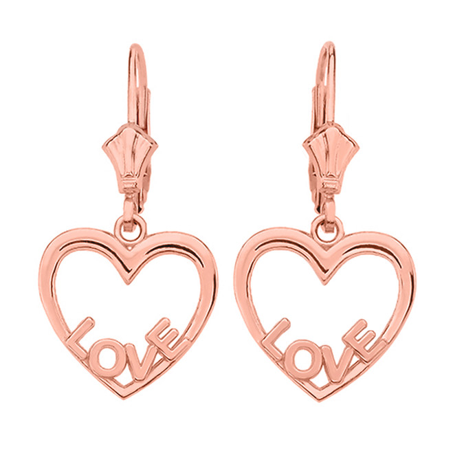 14K  Rose Gold Love Heart  Earrings