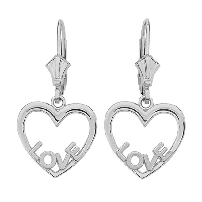 14K  White Gold Love Heart  Earrings
