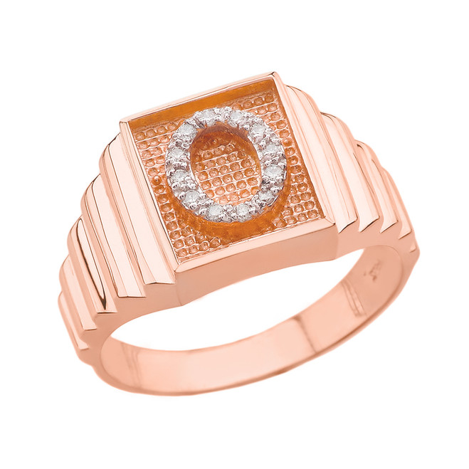 Rose Gold Diamond Initial O Ring
