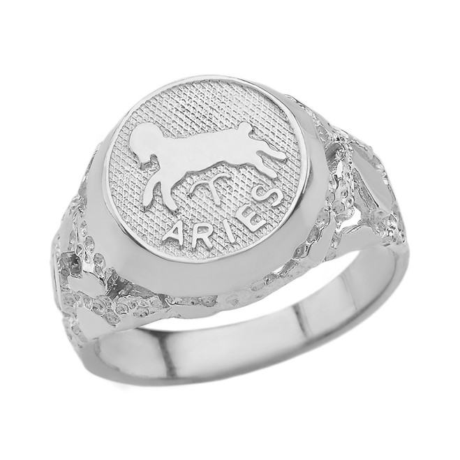 White Gold Aries Zodiac Sign Nugget Ring