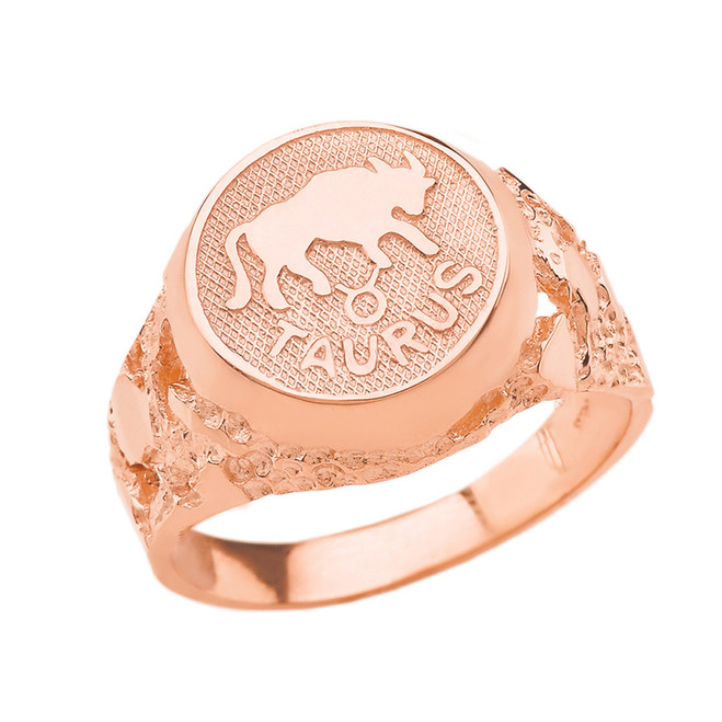 Rose Gold Taurus Zodiac Sign Nugget Ring