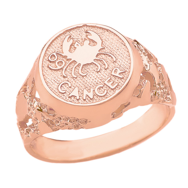 Rose Gold Cancer Zodiac Sign Nugget Ring