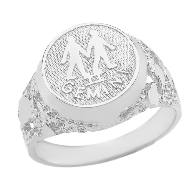 Sterling Silver Gemini Zodiac Sign Nugget Ring