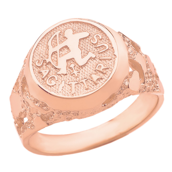 Rose Gold Sagittarius Zodiac Sign Nugget Ring