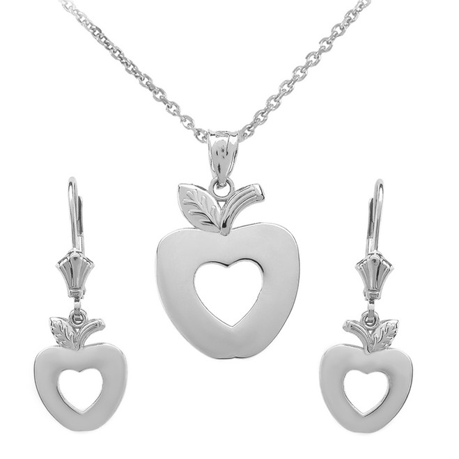 14K White Gold Apple Heart Necklace Earring Set