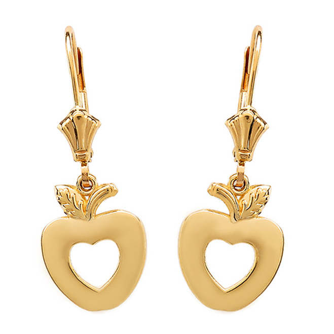 14K Yellow Gold Apple Heart Earrings