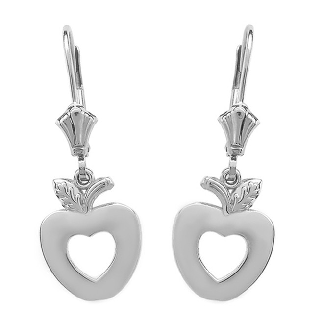14K White Gold Apple Heart Earrings