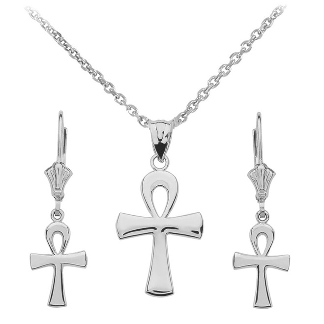 14K White Gold Egyptian Ankh Polished Necklace Earring Set