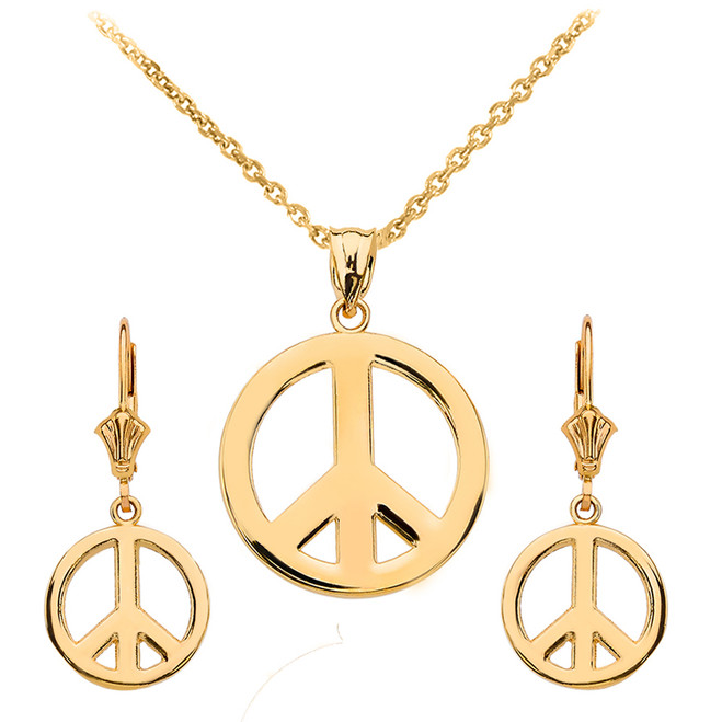 14K Yellow Gold Boho Peace Sign Necklace Earring Set
