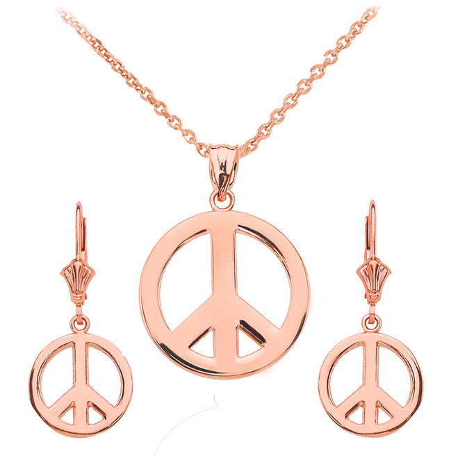 14K  Rose Gold Boho Peace Sign Necklace Earring Set