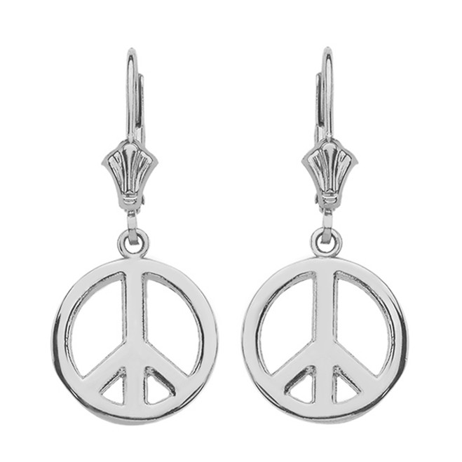14K White Gold Boho Peace Sign Earrings