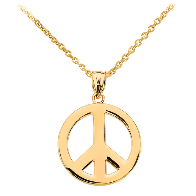 Yellow Gold Boho Peace Sign Pendant Necklace
