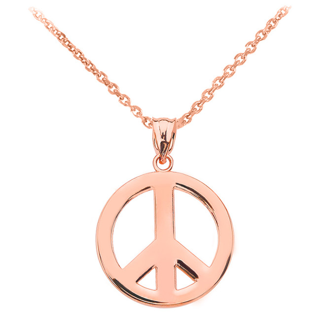 Rose Gold Boho Peace Sign Pendant Necklace