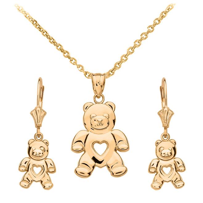 14K Yellow Gold Love Bear Necklace Earring Set