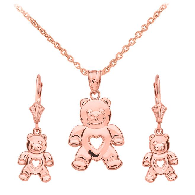 14K Rose Gold Love Bear Necklace Earring Set