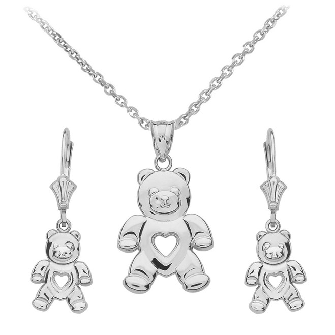 14K White Gold Love Bear Necklace Earring Set
