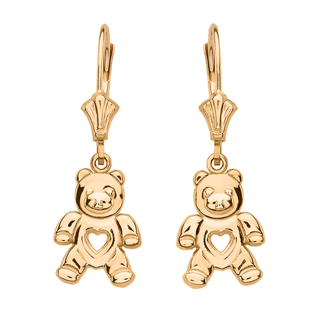 14K Yellow Gold Love Bear Earrings