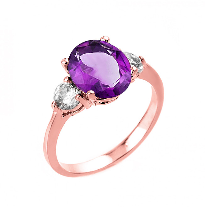 Rose Gold Amethyst and White Topaz Ring