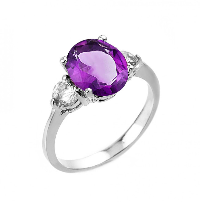 White Gold Amethyst and White Topaz Ring