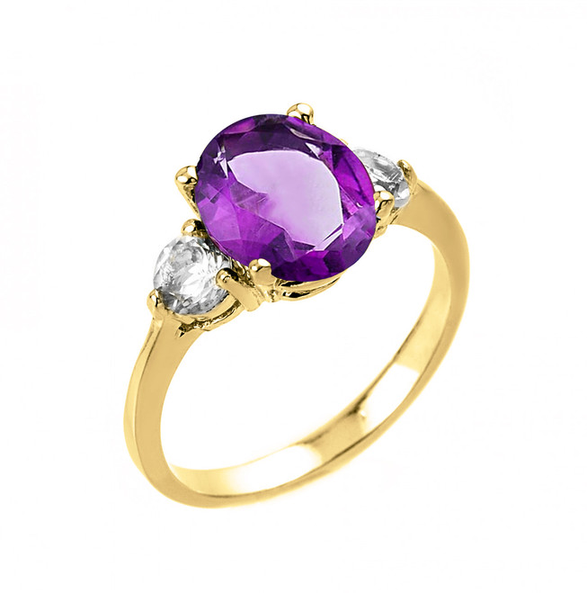 Yellow Gold Amethyst and White Topaz Ring