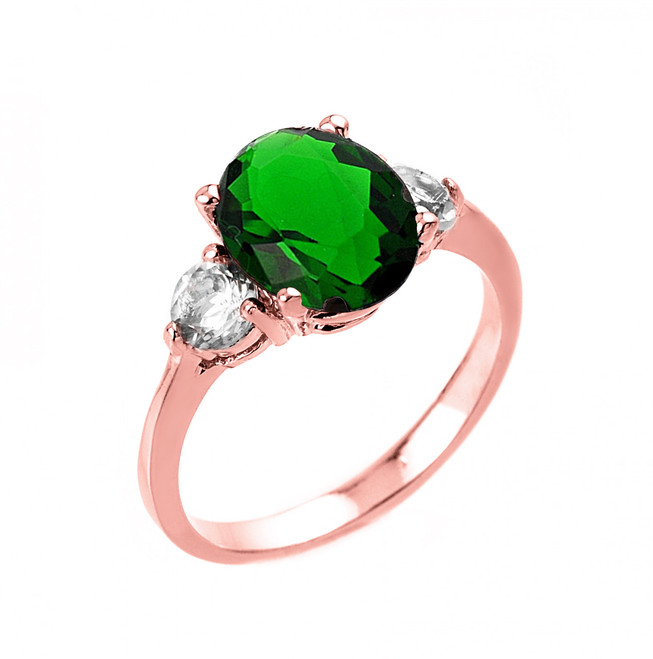 Rose Gold (LCE) Emerald and White Topaz Ring