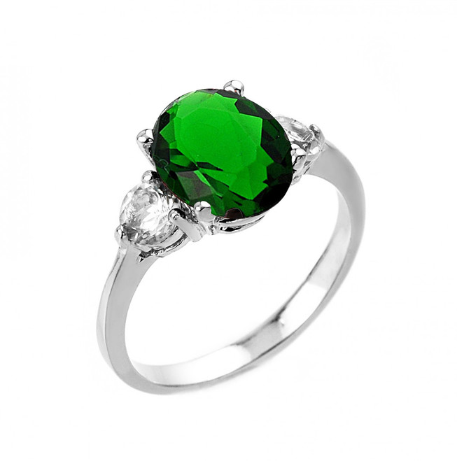 White Gold (LCE) Emerald and White Topaz Ring