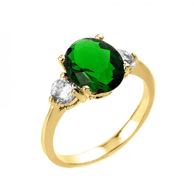 Yellow Gold (LCE) Emerald and White Topaz Ring