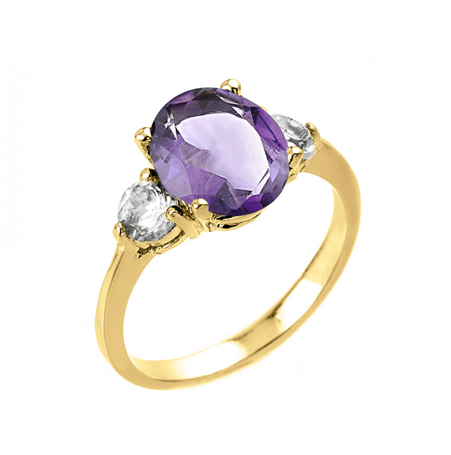 Yellow Gold (LCA) Alexandrite and White Topaz Ring