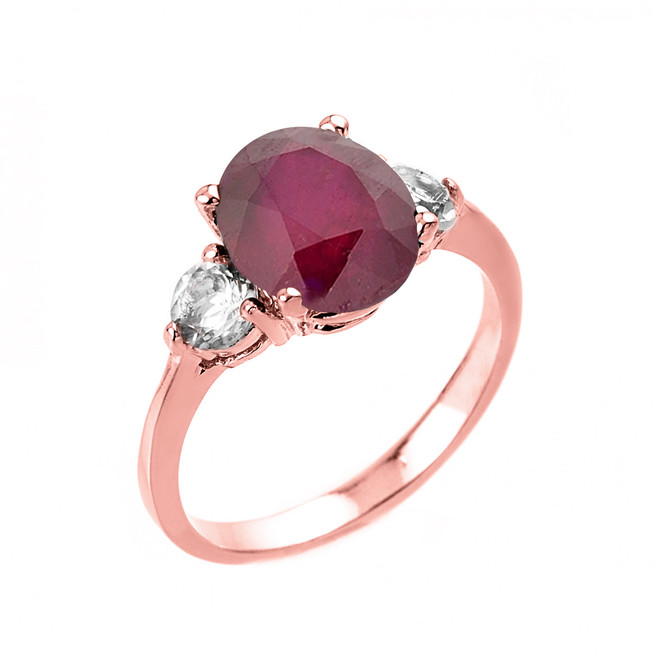 Rose Gold (LCR) Ruby and White Topaz Ring