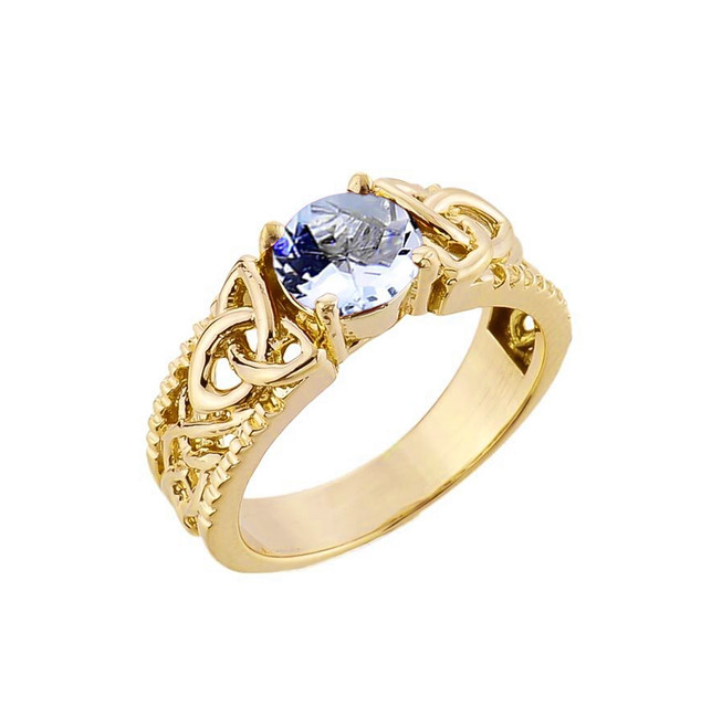 Yellow Gold Celtic Knot Aquamarine Gemstone Ring
