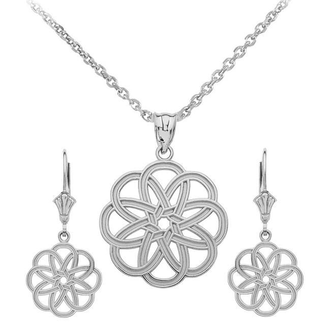 14K White Gold Celtic Knot Round Flower Necklace Earring Set