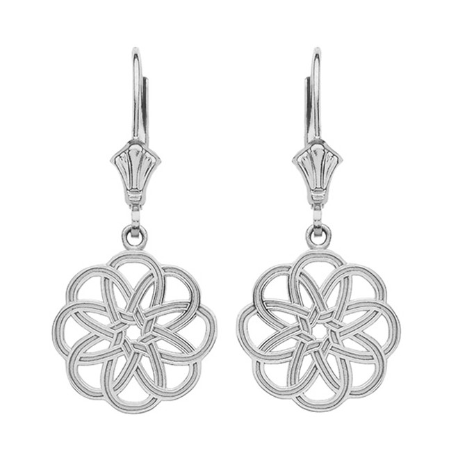 14K White Gold Celtic Knot Round Flower Earrings