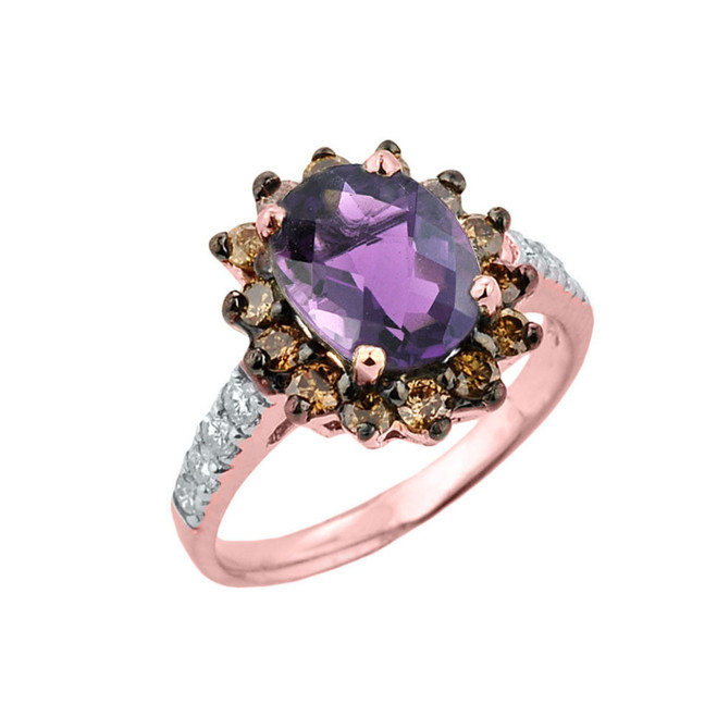Rose Gold Diamond And Alexandrite (LCA) Birthstone Proposal Ring