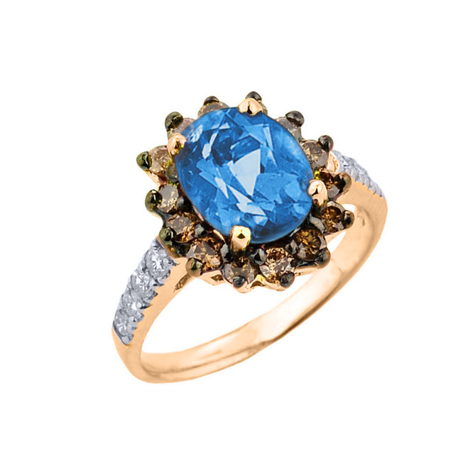 Yellow Gold Blue Topaz Birthstone and Diamond Proposal Ring