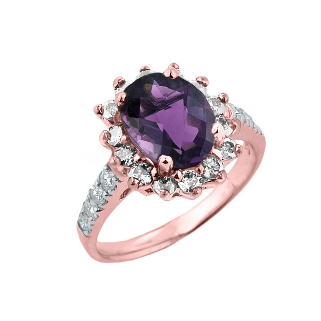 Rose Gold Diamond And Alexandrite (LCA) June Birthstone Proposal Ring