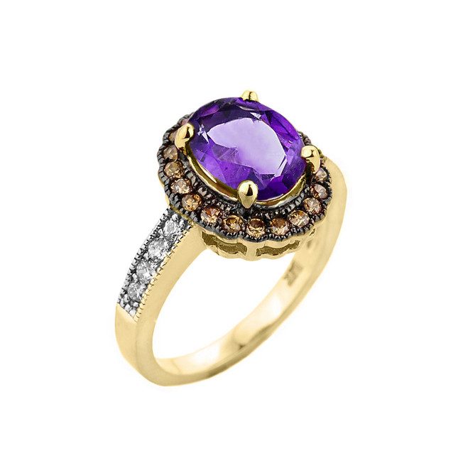 Yellow Gold Amethyst and Diamond Engagement Ring