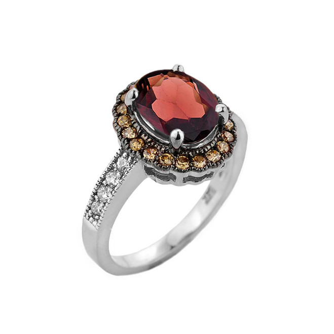 White Gold Garnet and Diamond Engagement Ring
